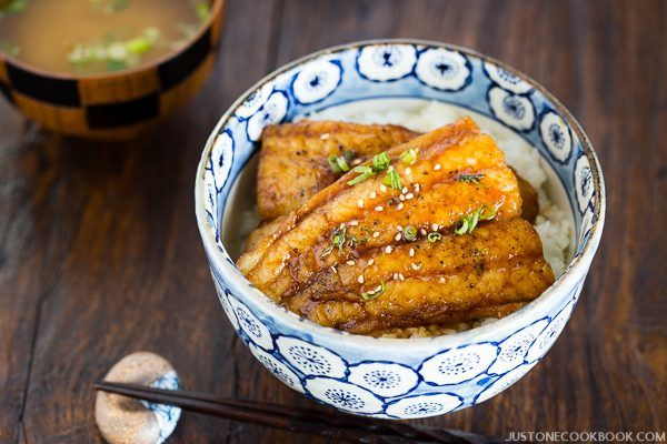 Catfish Kabayaki with Teriyaki Sauce and rice in a big bowl.