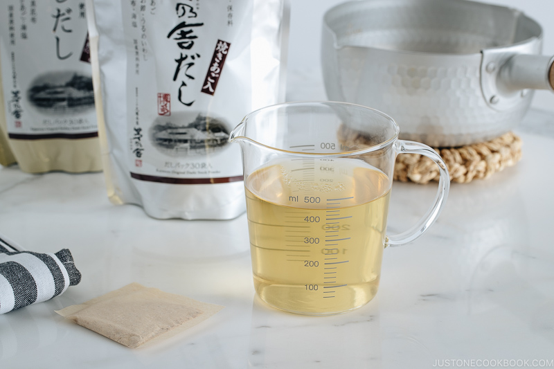 Dashi made from Dashi Packet.