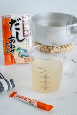 Dashi made from Dashi Powder.