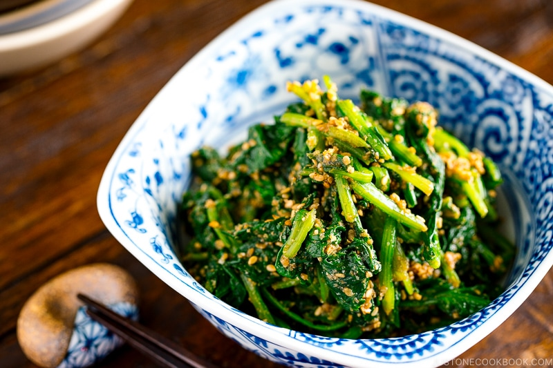 japanese spinach salad with sesame dressing ほうれん草の胡麻和え • just one cookbook