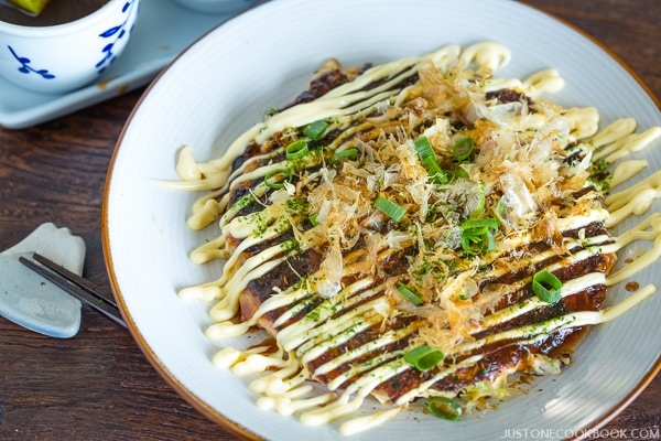 Okonomiyaki (Japanese Savory Pancake) with Mayonnaise on top.