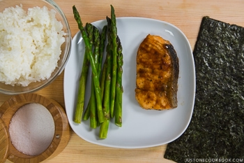 Teriyaki Salmon Onigirazu Ingredients