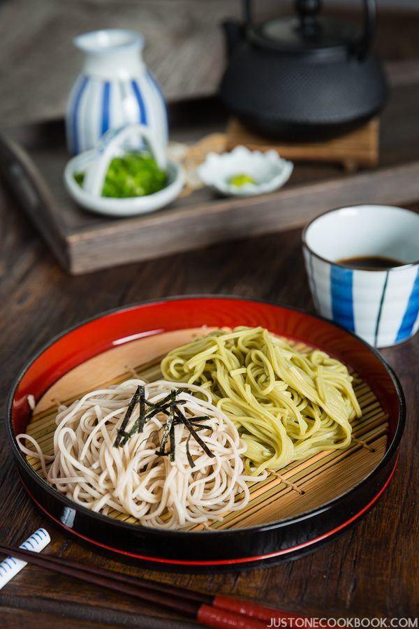 Zaru Soba, Cold Buckwheat Noodles with Dipping Sauce on a wooden table.