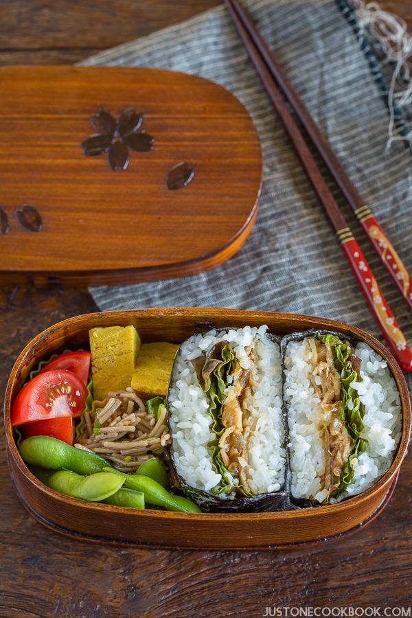 Ginger Pork Onigirazu in a bento box.