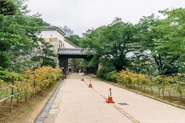 a walkway lined with greens at Himeji Castle
