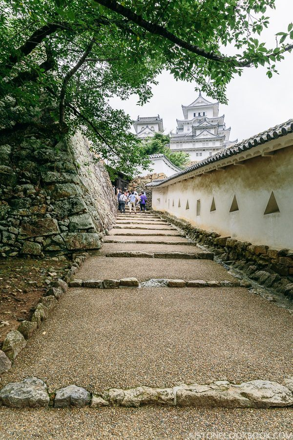 a stone path between castle walls