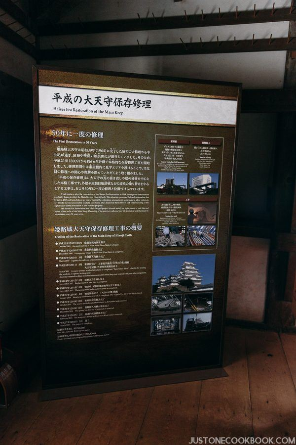 History of the extensive repair done at the Himeji Castle over a 6-year period