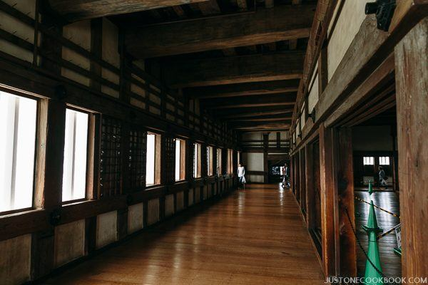 large hall inside himeji castle