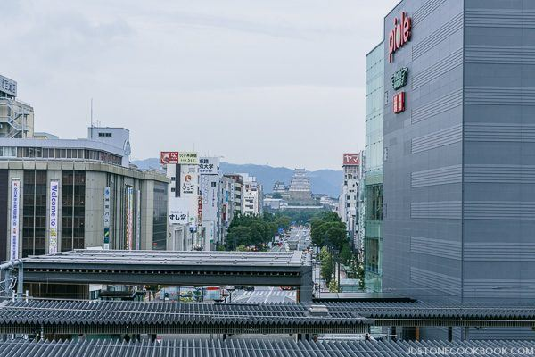 view of Himeji Castle from the station