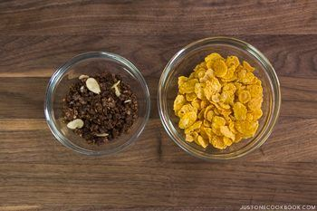 Crunch cereals in glass bowls.