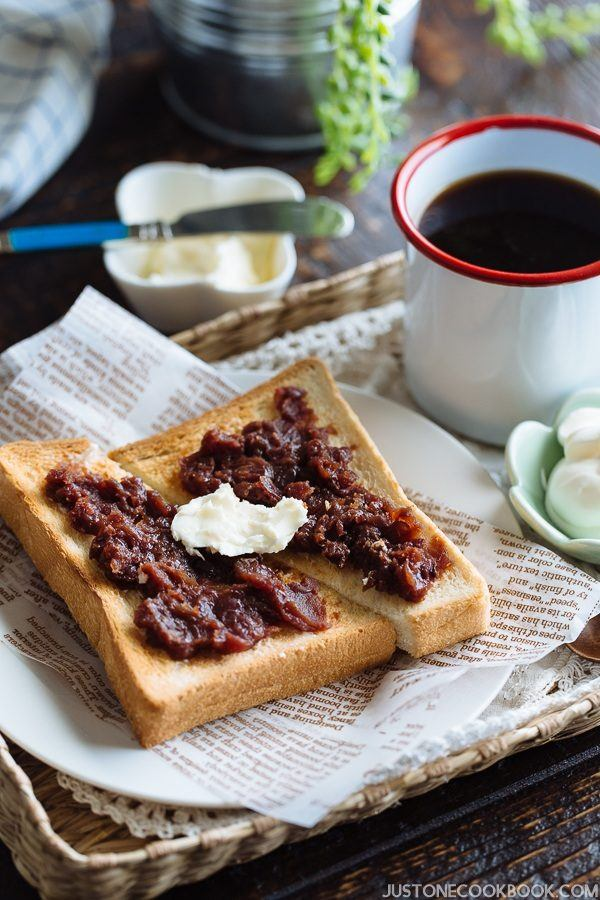 Ogura Toast, Toast with red bean past and a cup of coffee.