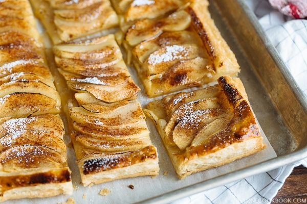 Easy Apple Tart on a baking pan.