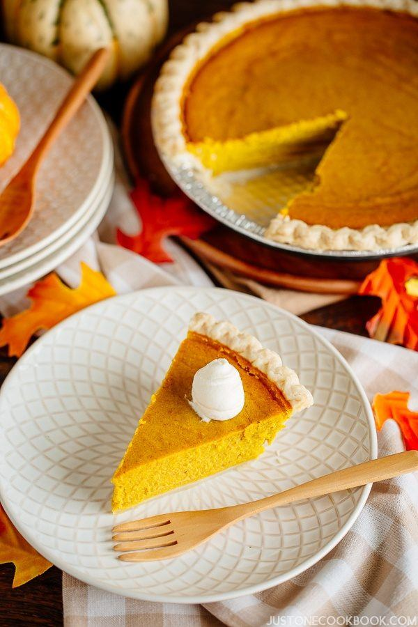 Kabocha Squash Pie on the wooden table.