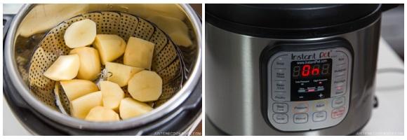 potato in a steamer basket inside Instant Pot