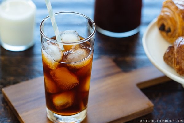 A glass of Cold Brew Coffee with ice cubes.