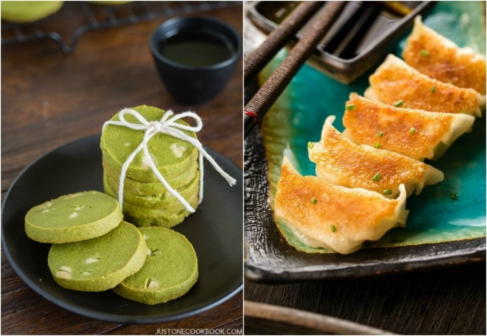 Green tea cookies and Gyoza on plates.