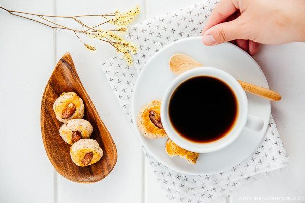 Chinese Almond Cookies and a cup of hot drink.