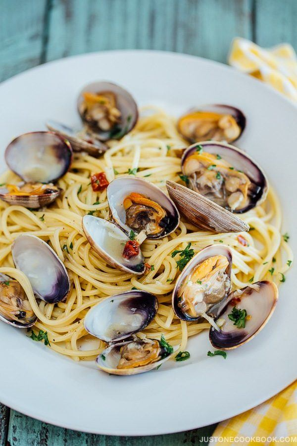 Clam Pasta in a white plate.