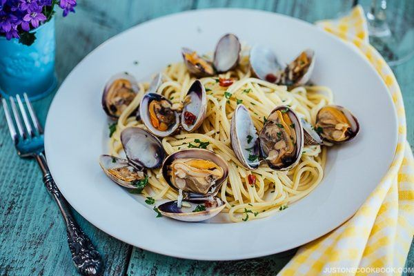 Clam Pasta on a white plate.