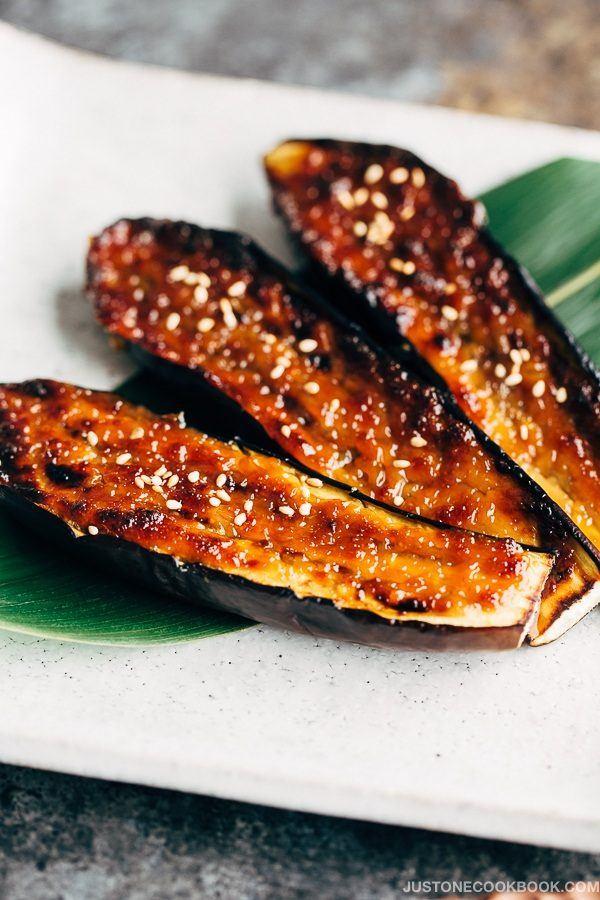 Miso Dengaku, Eggplant on the white plate.