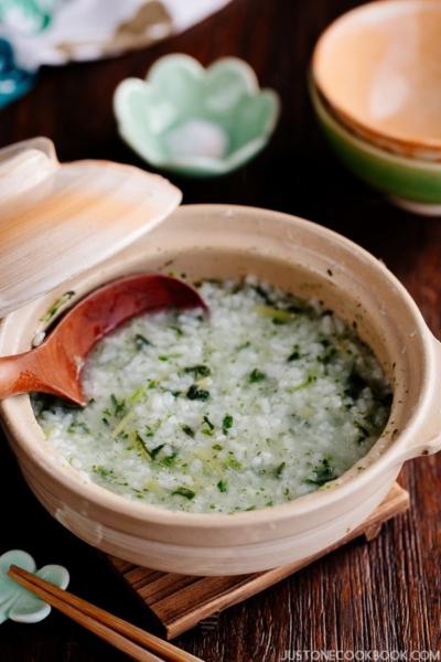 Nanakusa Gayu (Japanese Seven Herb Rice Porridge) 七草粥   Easy Japanese Recipes at JustOneCookbook.com