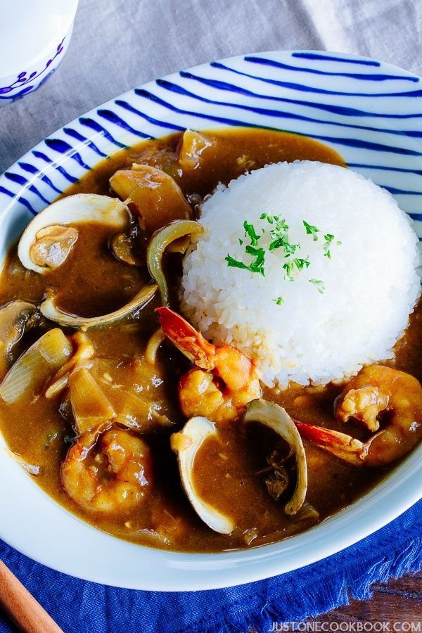Pressure Cooker Japanese Seafood Curry with white rice on a plate.