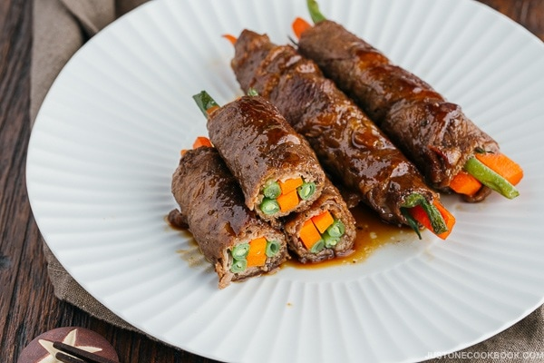 Teriyaki Steak Rolls on white plate.