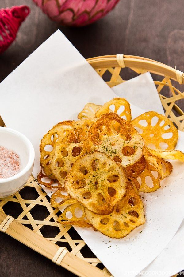 Lotus Root Chips in a bamboo basket.