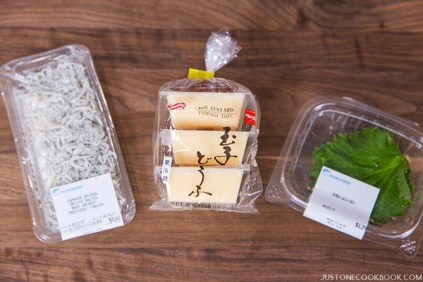 Tamago Tofu Gohan Ingredients on a table.