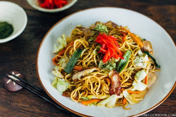 Yakisoba, Japanese Stir Fry Noodles in a plate.