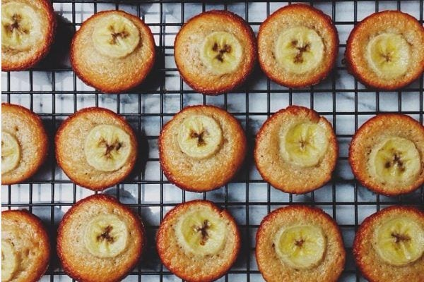 Banana Muffins on a baking rack.