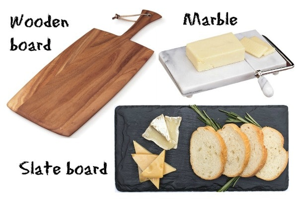 wooden board, Marble board and Slate board.