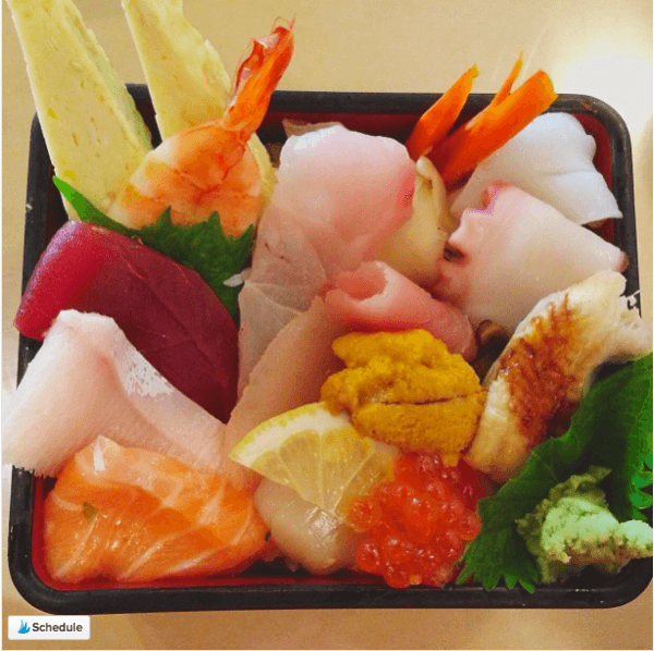 Chirashi Sushi topped with Assorted sashimi.