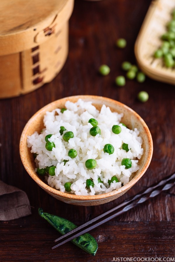 Mame Gohan, Green Pea Rice in a bowl.