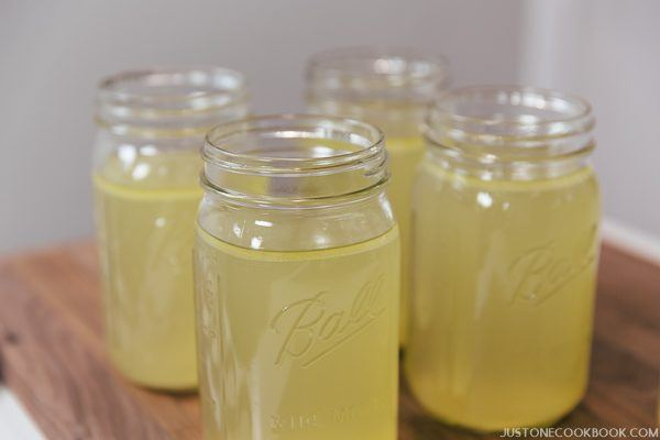 Chicken Stock in glass jars.