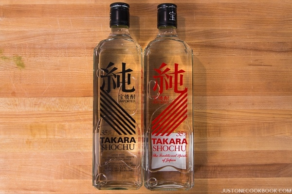 Shochu in bottles.