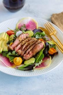 Steak Salad with Shoyu Dressing (gluten free) ステーキサラダ醤油ドレッシング | Easy Japanese Recipes at JustOneCookbook.com