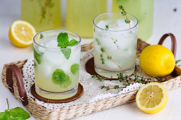 Homemade Lemonade in glass cups.
