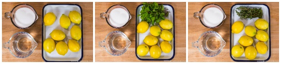 ingredients for homemade lemonade on wood cutting board