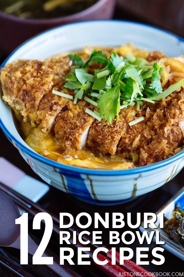 Chicken katsu donburi in the bowl.
