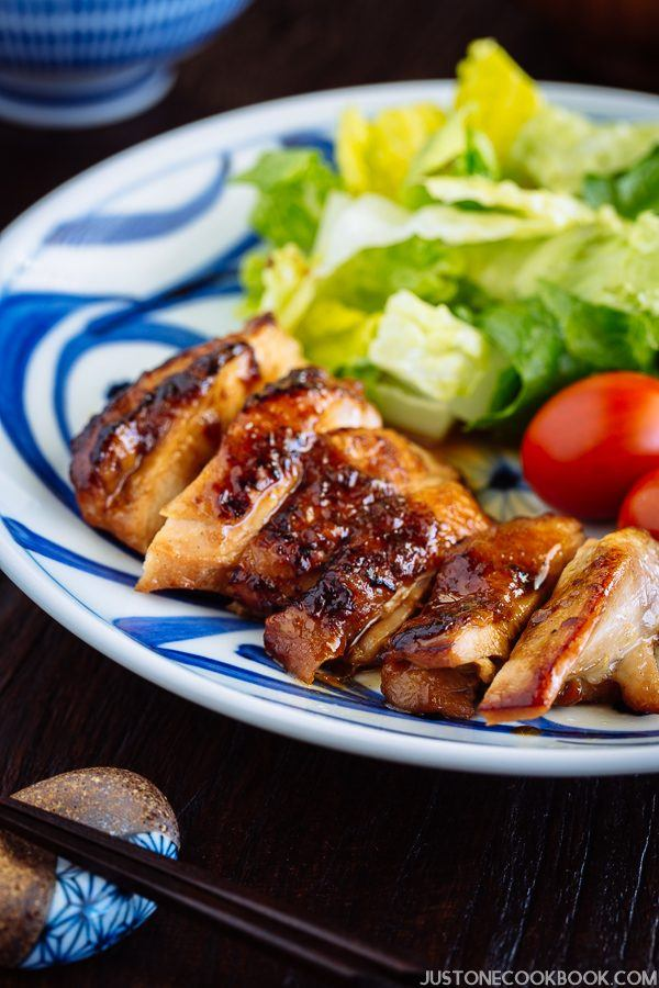 Chicken Teriyaki with salads on the plate