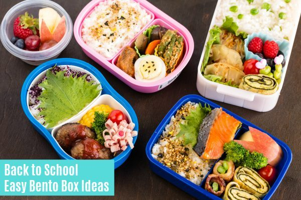 Bento Boxes on wooden table. Back to School Easy Box Ideas \u2022 Just One Cookbook