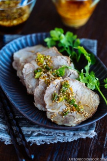 Pressure Cooker Steamed Pork with Garlic Soy Sauce + Ginger Miso Sauce 蒸し豚(つけダレ2種類) | Easy Japanese Recipes at JustOneCookbook.com