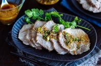 Pressure Cooker Steamed Pork with Garlic Soy Sauce and Ginger Miso Sauce 蒸し豚 (圧力鍋)