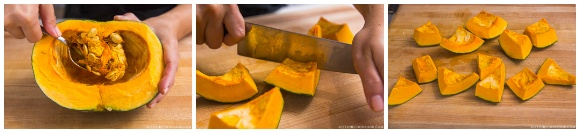 Remove seeds and pith and cut kabocha into big pieces