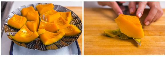 Let cool kabocha and remove the skin with knife.