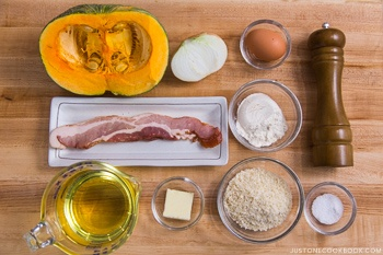 Kabocha Croquette ingredients laying on the cutting board.