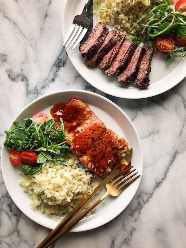 organic grass fed skirt steak and wild sockeye salmon_Just One Cook.com