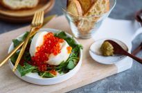 Burrata Crostini with Ikura and Yuzu Pepper