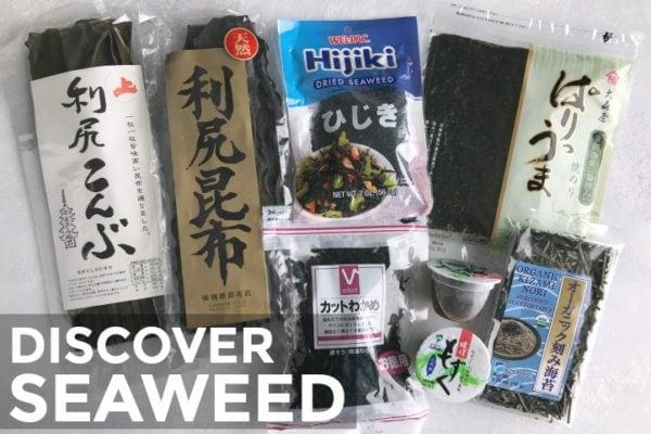 Various kinds of seaweed presented on the table, including nori, wakame, hijiki, and kombu.